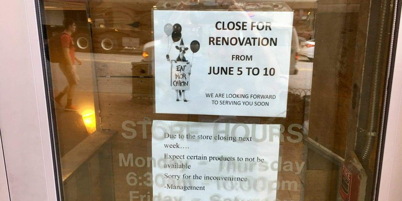 Chick-fil-A closed for remodeling