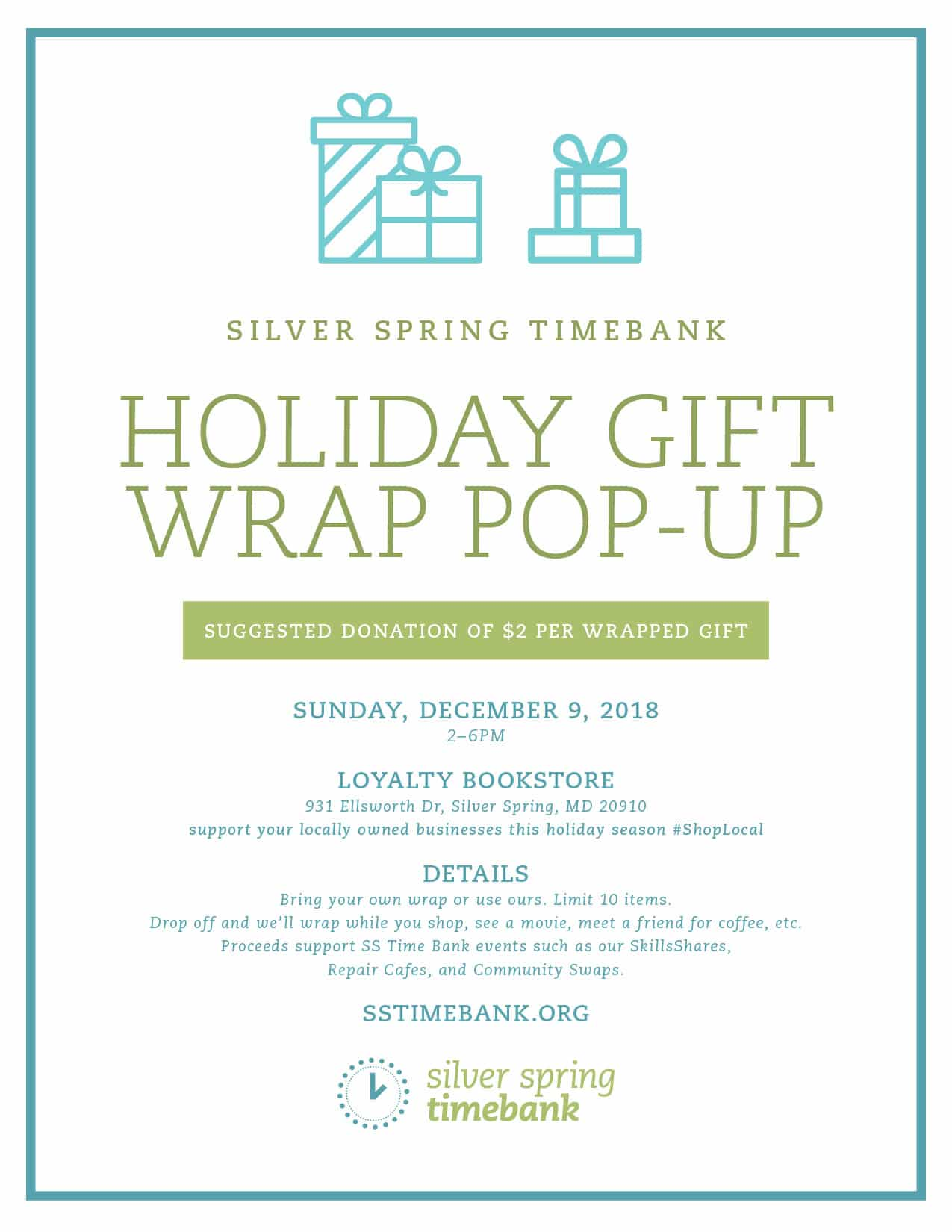 Silver Spring Time Bank Holiday Gift Wrap Pop-Up