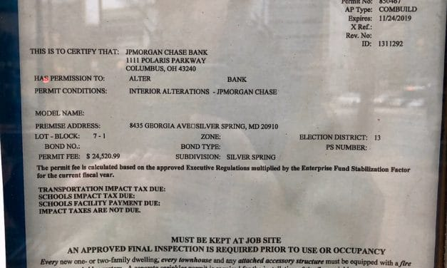 Permit Issued to Chase Bank for Georgia Avenue Location
