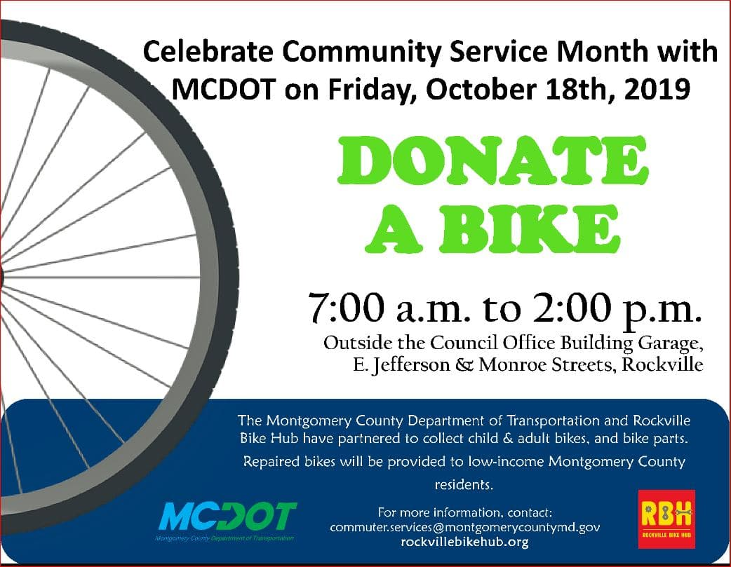 MCDOT-Community Service Month - Bicycle Drive
