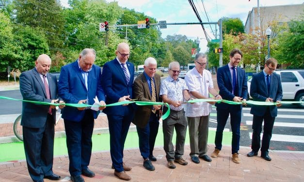 County Dedicates Protected Intersection, Completing Circuit of Bike Lanes